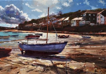 Jeremy Sanders Original Oil Painting Mousehole Cornwall